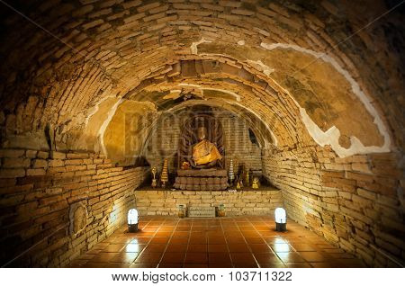 Buddha Statue In One Of The Underground Tunnels At Wat Umong, Chiang Mai, Thailand