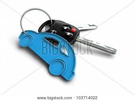 Car Keys With Pink Passenger Vehicle Icon As Keyring.