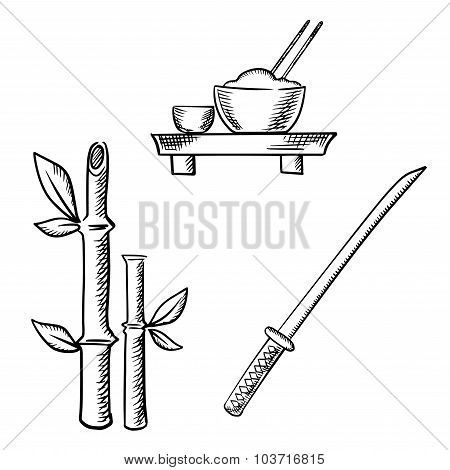 Rice, sake, bamboo and samurai katana