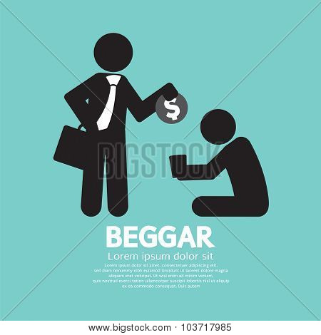 Businessman Donates Coin To The Beggar Vector Illustration.