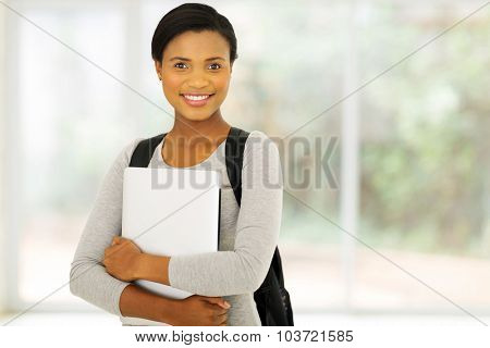 happy female african american college student