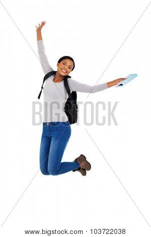 excited african american college student jumping