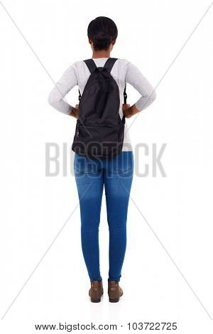 rear view of african female college student isolated on white background