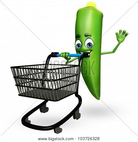 Cartoon Character Of Ladyfinger  With Trolley