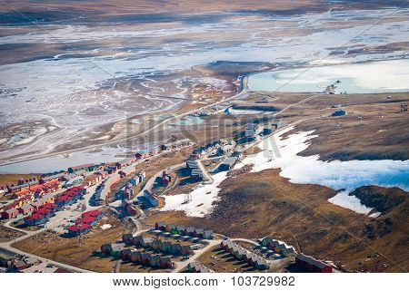 View Over Longyearbyen From Above, Svalbard