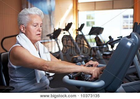 Senior Woman On Home Trainer