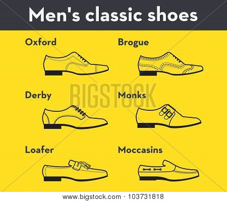 Vector graphic set icons of flat classical men's shoes. Infographic illustration of oxfords, brogues