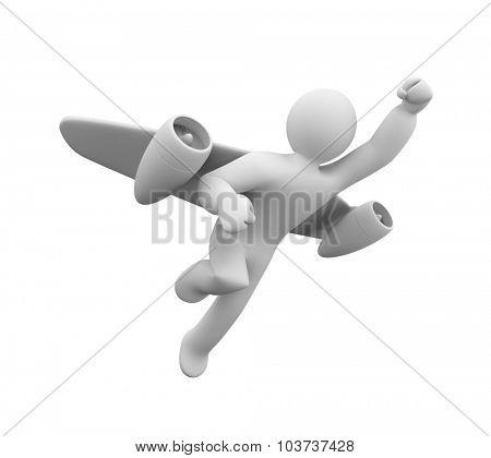 Man flies jetpack