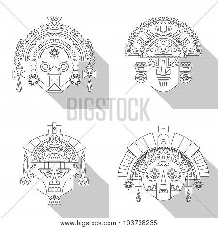Inca Tribal Masks. Black And White.