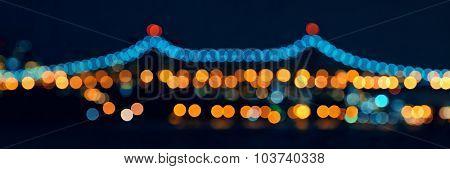 Queensboro Bridge bokeh at night