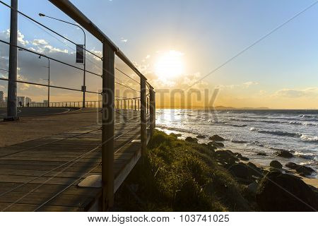 Gold Coast Kirra beach and boardwalk at sunrise