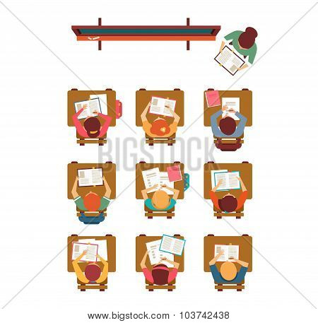 Classroom Top View in Flat design