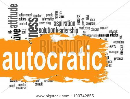 Autocratic Word Cloud With Orange Banner