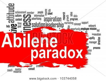 Abilene Paradox Word Cloud With Red Banner