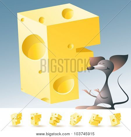 3D vector yellow cheese alphabet with funny mouse. All symbols in set have 6 random points of view. Letter F