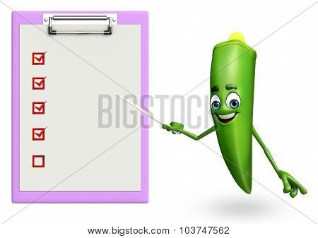 Cartoon Character Of Ladyfinger With Notepad
