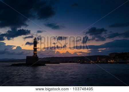 Lighthouse on sunset. Chania, Crete, Greece.
