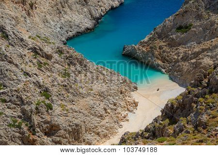 Secret beach on remote island. Rizoskloko (Seitan Limani), Crete, Greece.