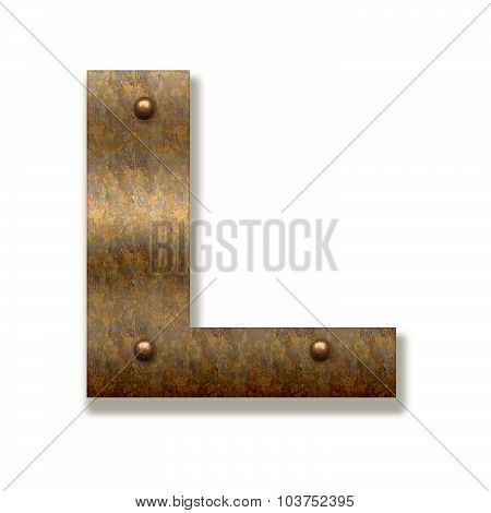 Rusty Metal Letter L. Alphabet Isolated On White Background