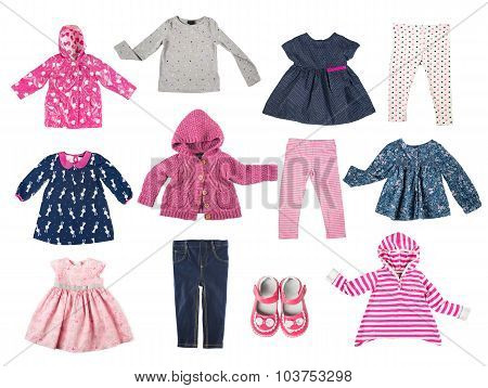 Set Of Different Childrens Clothes, Shirts, Jacket, Shirt, Pants, Shoes, Dresses, Baby's Wa