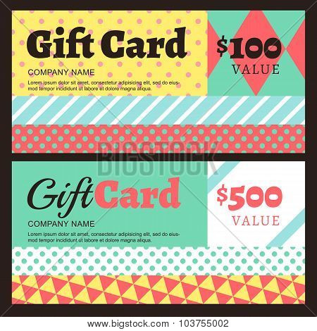 Vector Gift Card Or Voucher Template With Geometric Pattern.