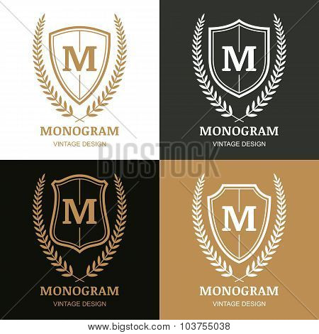 Set Of Vector Vintage Logo Design Template. Monogram, Shield And Laurel Wreath.