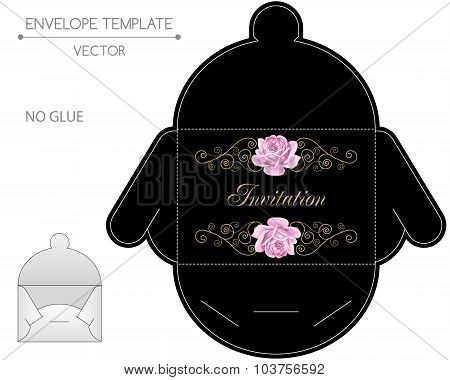 Vector envelope template with hand drawn roses and golden curly design elements in retro style. Die-stamping poster