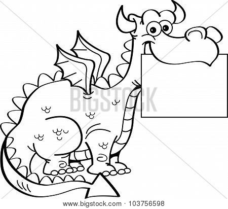 Cartoon dragon holding a sign.