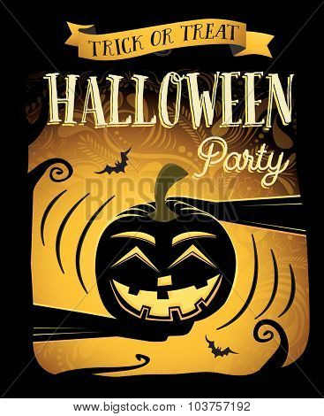 Halloween party. Happy Halloween poster with laugh pumpkin. Vector illustration. Concept for club flyer, placard, banner or web site