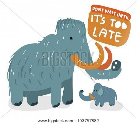 Extinct Wolly mammoth. Vector illustration Flat poster