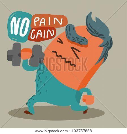 No Pain No Gain. Vector illustration Flat poster