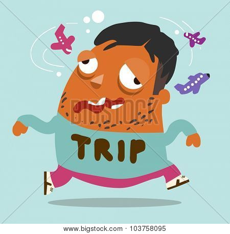 Trip fatigue. Vector illustration Flat