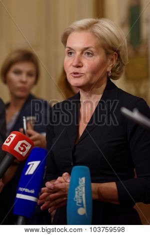 ST. PETERSBURG, RUSSIA - SEPTEMBER 25, 2015: Deputy Prime Minister Olga Golodets talks with press after the meeting of the organizing committee of the St. Petersburg international cultural forum