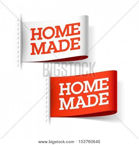 Homemade white and red labels. Vector.