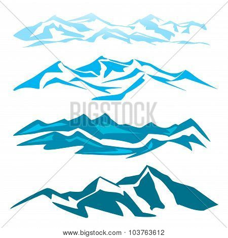 A set of several mountain obrozovanie