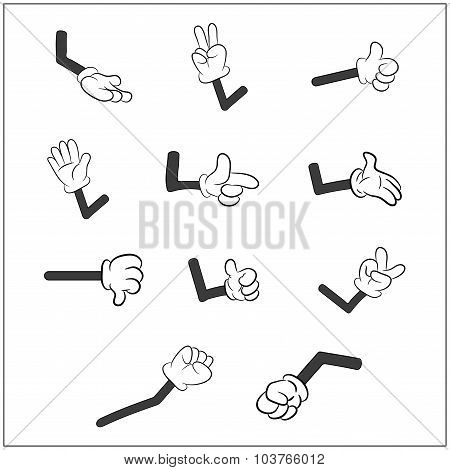 Image Of Cartoon Human Gloves Hand With Arm Gesture Set. Vector Illustration Isolated On White Backg