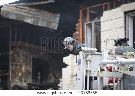 Fire fighter in the basket