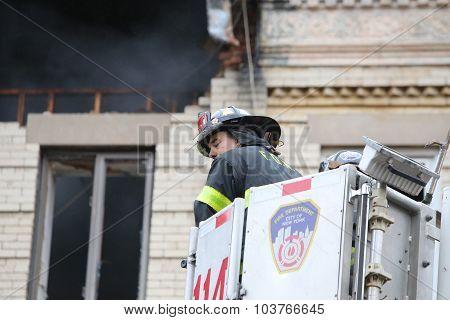 Fire fighters in basket