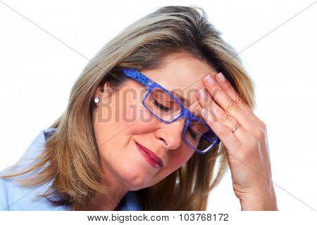 Elderly woman having a headache. Health care concept.