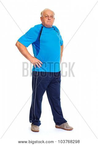 Elderly man in sport clothing isolated over white background.