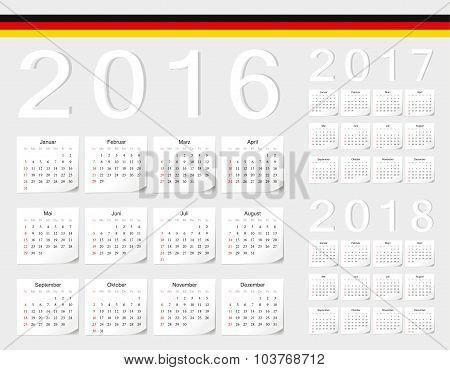 Set Of German 2016, 2017, 2018 Vector Calendars