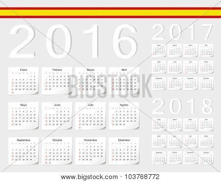 Set Of Spanish 2016, 2017, 2018 Vector Calendars