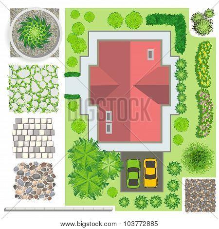 Home, landscape, ornamental trees, shrubs and fencing for landscape design