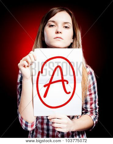 Perfect School Grade A Of Exam And Proud Girl