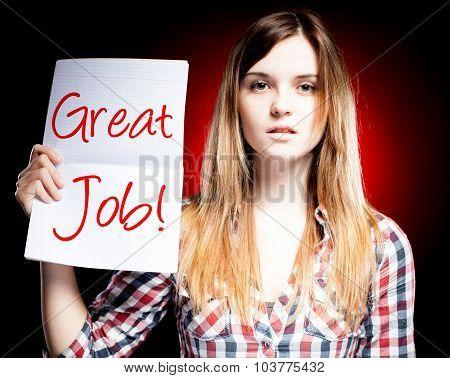 Great Job, School Exam And Proud Girl