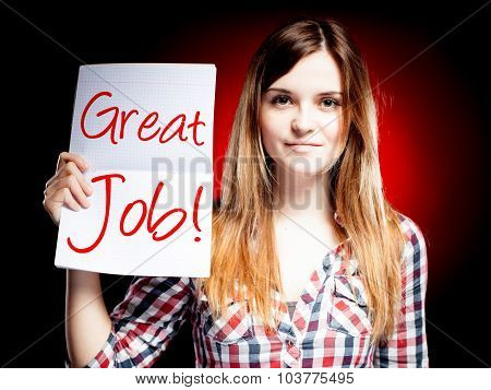 Great Job, School Exam And Happy Girl