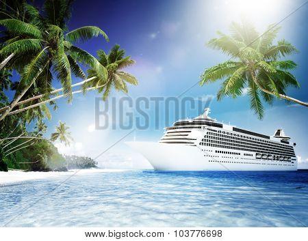 Cruise Ship Tropical Beach Vacation Travel Leisure Concept