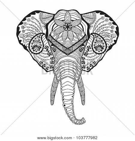 Zentangle stylized elphant head. Sketch for tattoo or t-shirt.