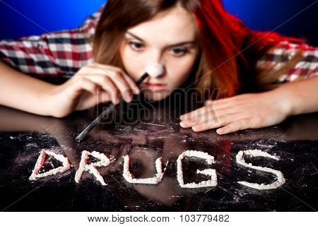 Woman Snorting Cocaine Or Amphetamines, Drug Addiction