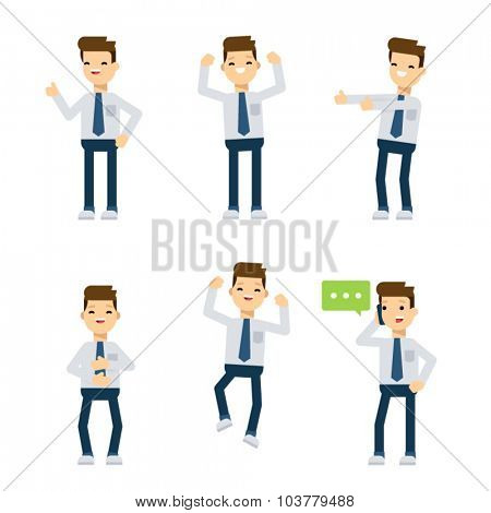Set of flat style vector characters: office guy being happy.